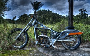 Картинка природа, фон, мотоцикл