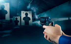 Картинка gun, smoke, target shooting