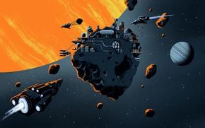 Картинка космос, планета, звёзды, аппарат, The Expanse-Season 4