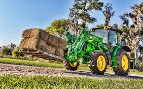 Картинка green, улица, сено, трактор, кабина, колёса, John Deere, поддон, погрузчик, фронтальный погрузчик, John Deere 5100e, …