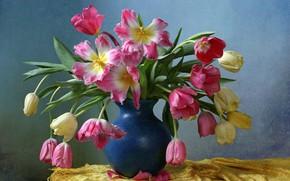 Картинка фон, букет, тюльпаны, ваза