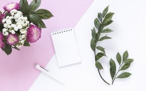 Картинка цветы, букет, ручка, блокнот