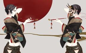 Картинка секси, трубка, демон, арт, парень, Hoozuki no Reitetsu, хладнокровный Хозуки