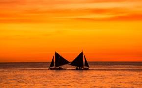 Картинка море, закат, лодка, силуэт, зарево, парус