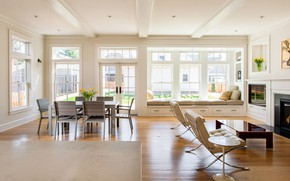 Картинка интерьер, камин, гостиная, столовая, Crocus Hill Residence