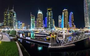Картинка ночь, город, небоскреб, панорама, Дубай, Dubai, Panorama