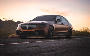 Обои mercedes, мерседес, AMG, brown, s-klass
