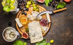 Картинка сыр, виноград, джем, инжир