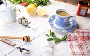 Картинка стол, лимон, мята, wood, cup, салфетка, чай душистый
