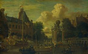 Картинка масло, картина, Абрахам Сторк, холст на панели, Abraham Storck, 1708, Визит московского посольства в Амстердам