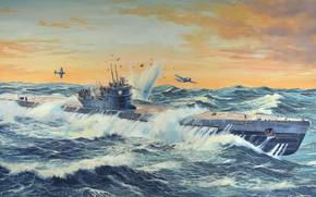 Обои Германия, дизельная, U-505, подводная лодка типа IX-C, большая океанская немецкая