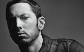 Картинка actor, Eminem, singer, черно - белое, rapper, Эминем