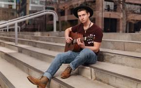 Картинка гитара, шляпа, лестница, ступени, парень