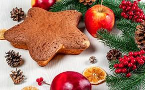 Картинка ягоды, яблоки, звезда, Рождество, Новый год, шишки, бисквит, еловые ветки