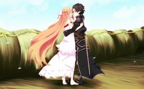 Картинка взгляд, Любовь, аниме, арт, парень, Мастера меча онлайн, Sword Art Online, Асуна, Кирито