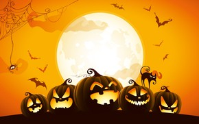 Картинка spider, Halloween, moon, cat, orange, holiday, digital art, bats, pumpkins, black cat, spooky, spider web