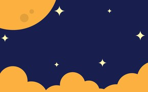 Картинка небо, звезды, облака, луна
