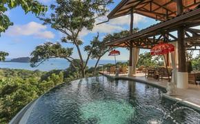 Картинка вилла, басейн, терраса, Коста-Рика, Tree House, Costa-Rica, вид на побережье