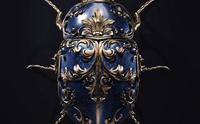 Картинка minimalism, artist, rendering, digital art, artwork, black background, insect, bug, jewel, copper, sapphires, Sasha Vinogradova