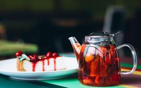 Картинка ягоды, чай, тарелка, пирог, заварник, запеканка