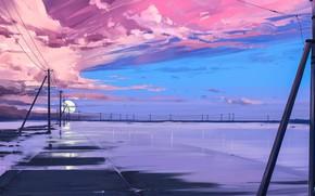 Картинка Закат, Небо, Облака, Провода, Столбы, Линии, Звезда, Арт, Endless, Alena Aenami, by Alena Aenami