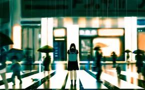 Картинка грусть, кошка, девушка, город, люди, дождь, школьная форма