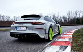 Картинка Porsche, Panamera, вид сзади, 2018, Turbo S, TechArt, Sport Turismo, E-Hybrid, Grand GT