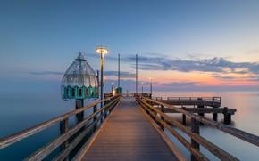 Картинка море, мост, рассвет, утро, Германия, Germany, Балтийское море, Baltic Sea, Цингст, Zingst