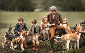Картинка собаки, дети, девочка, бревно, мальчики, Анастасия Бармина