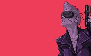Картинка Девушка, Очки, Фон, Weapons, Daisy, Киберпанк, Science Fiction, Cyberpunk, Andrea Abrile, by Andrea Abrile, Daisy …