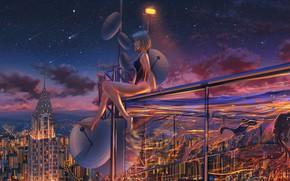 Картинка ночь, город, девушки, купальники, звездопад