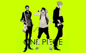 Картинка аниме, парни, One Piece, салатовый фон