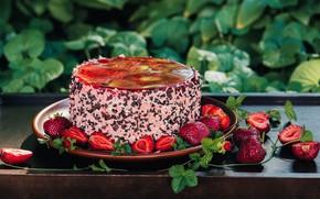 Картинка клубника, торт, желе