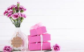Картинка цветы, подарки, ваза, поздравление, День матери