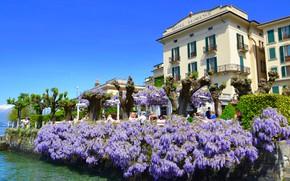 Картинка озеро, Италия, отель, глициния, Комо, Hotel Florence