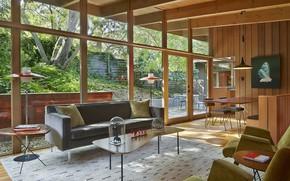 Картинка интерьер, терраса, гостиная, столовая, Mid century modern, Midcentury House, Retro Dreams