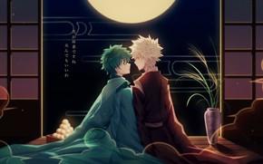 Картинка ночь, комната, парни, Моя геройская академия, My Hero Academia, Boku No Hero Academia, Мидория Изуку, …