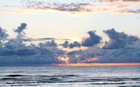Картинка закат, природа, Небо, Море, Пейзаж, облока