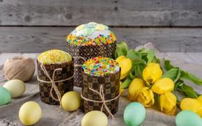 Картинка праздник, яйца, пасха, тюльпаны, куличи