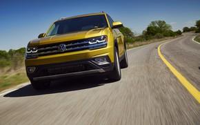 Картинка асфальт, жёлтый, разметка, Volkswagen, Atlas, 2017