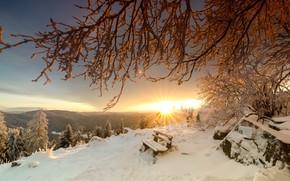 Картинка зима, закат, горы, скамья