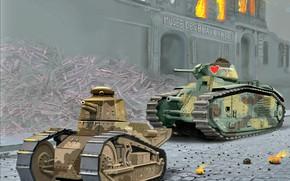 Картинка Франция, Огонь, танк, средний, лёгкий, Развалины дома, Renault FT.17, Char B.1bis