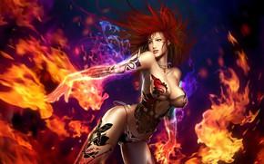 Картинка девушка, огонь, пламя, Perfect World