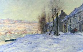Картинка зима, пейзаж, дом, река, лодка, картина, клод моне
