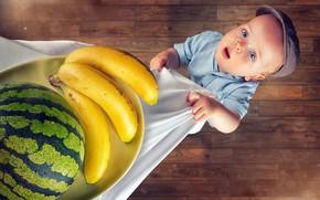 Обои мальчик, арбуз, бананы