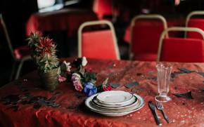 Картинка стол, приборы, тарелка, стопка, натурализм