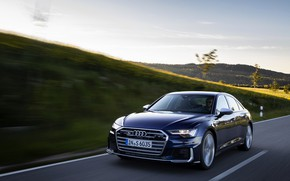 Картинка Audi, скорость, седан, тёмно-синий, Audi A6, 2019, Audi S6