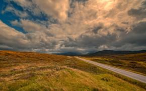 Картинка дорога, поле, небо, трава, облака, свет, горы, тучи, путь, пасмурно, холмы, весна, даль, шоссе, грозовые
