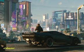 Обои city, город, будущее, робот, robot, cyberpunk, машинa, cyberpunk 2077, 2077