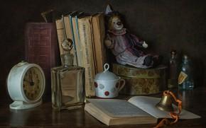 Картинка пузырьки, стиль, игрушка, часы, книги, клоун, будильник, флакон, колокольчик
